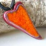 Heart Pendant Orange And B..