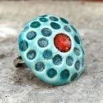 Red and turquoise ring, cer..