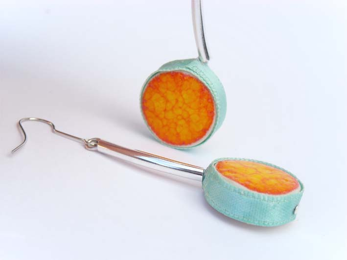 Orange and aqua earrings, spring fashion, ceramic jewelry