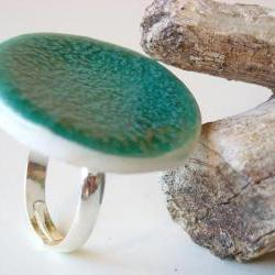 Round Turquoise Ring, fashion jewelry ceramic