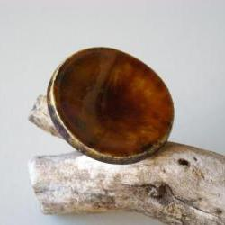 Round brown ring, fashion jewelry, ceramic