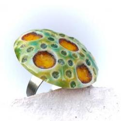 Green and yellow ring, ceramic jewelry, Spring Summer fashion
