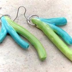 Green and turquoise earrings , Spring jewelry